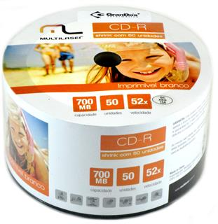 CD-R Printable no Bulk com 50 Multilaser