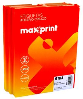 Etiquetas 6183 50,8mm x 101,6mm no Pack com 3 Caixas Maxprint