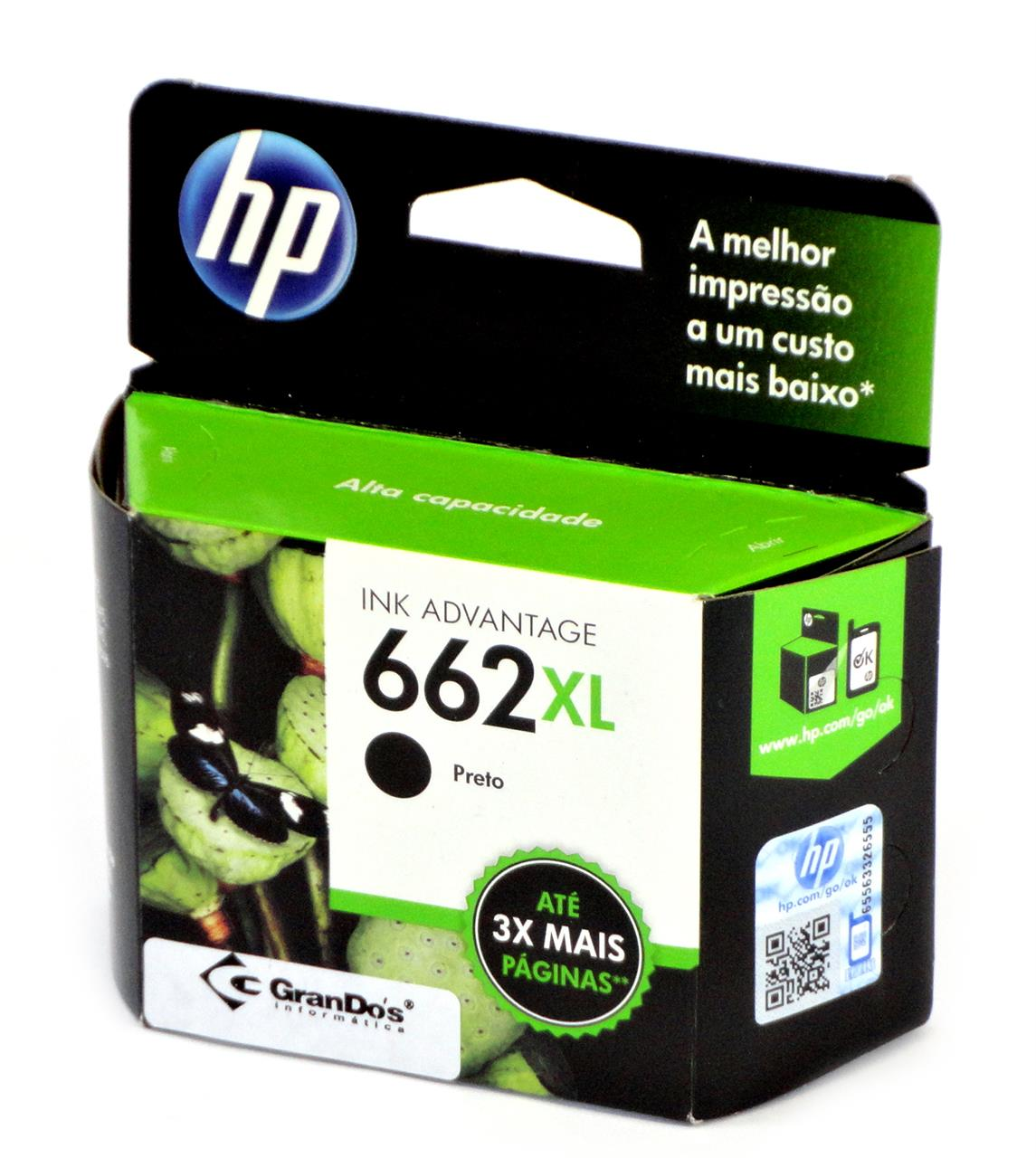 Cartucho Original HP 662XL Preto CZ105AB