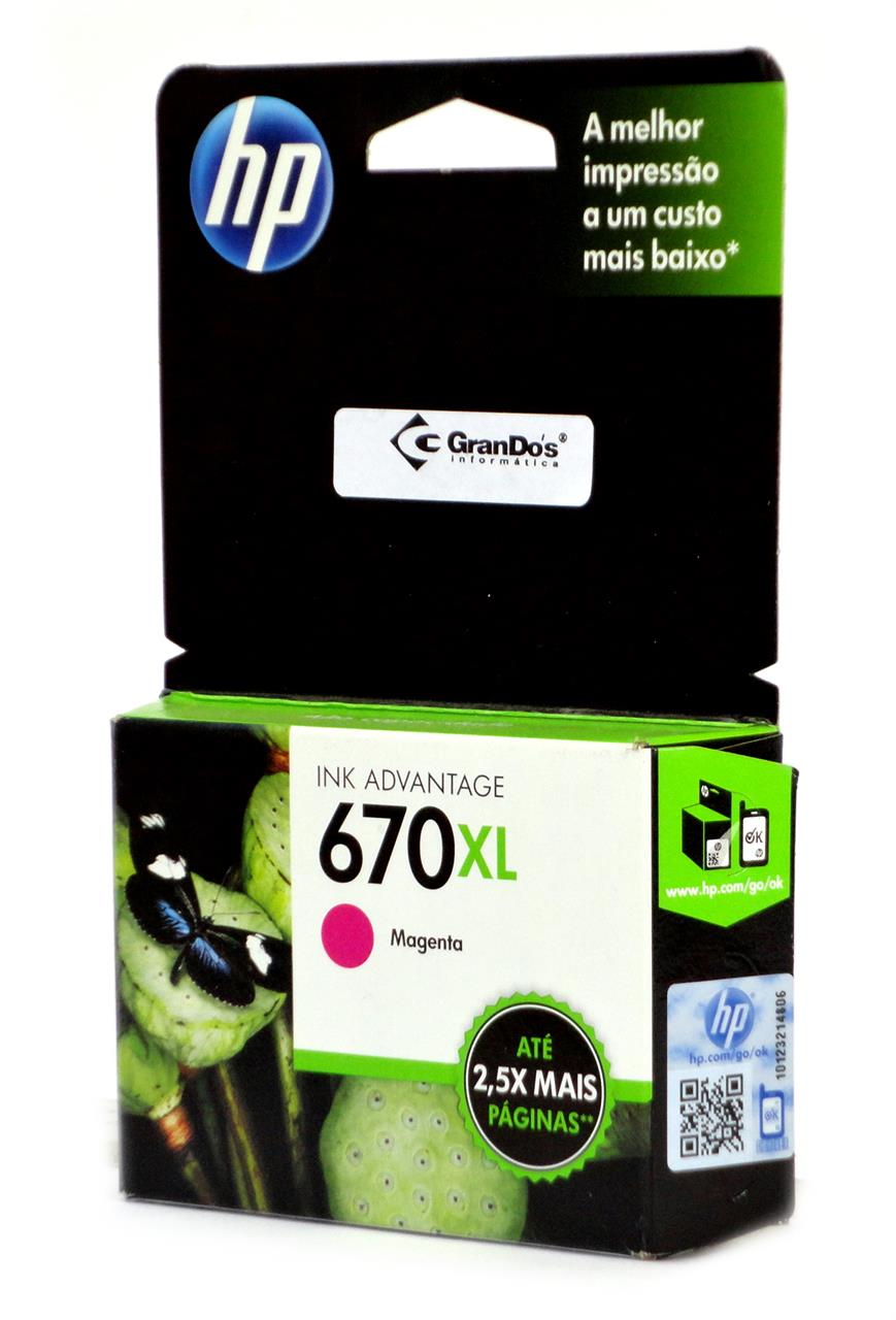 Cartucho Original HP 670XL Magenta CZ119AB