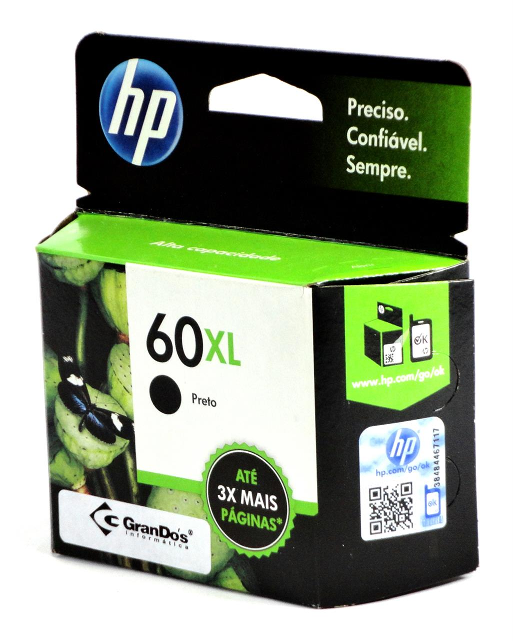 Cartucho Original HP 60XL Preto CC641WB