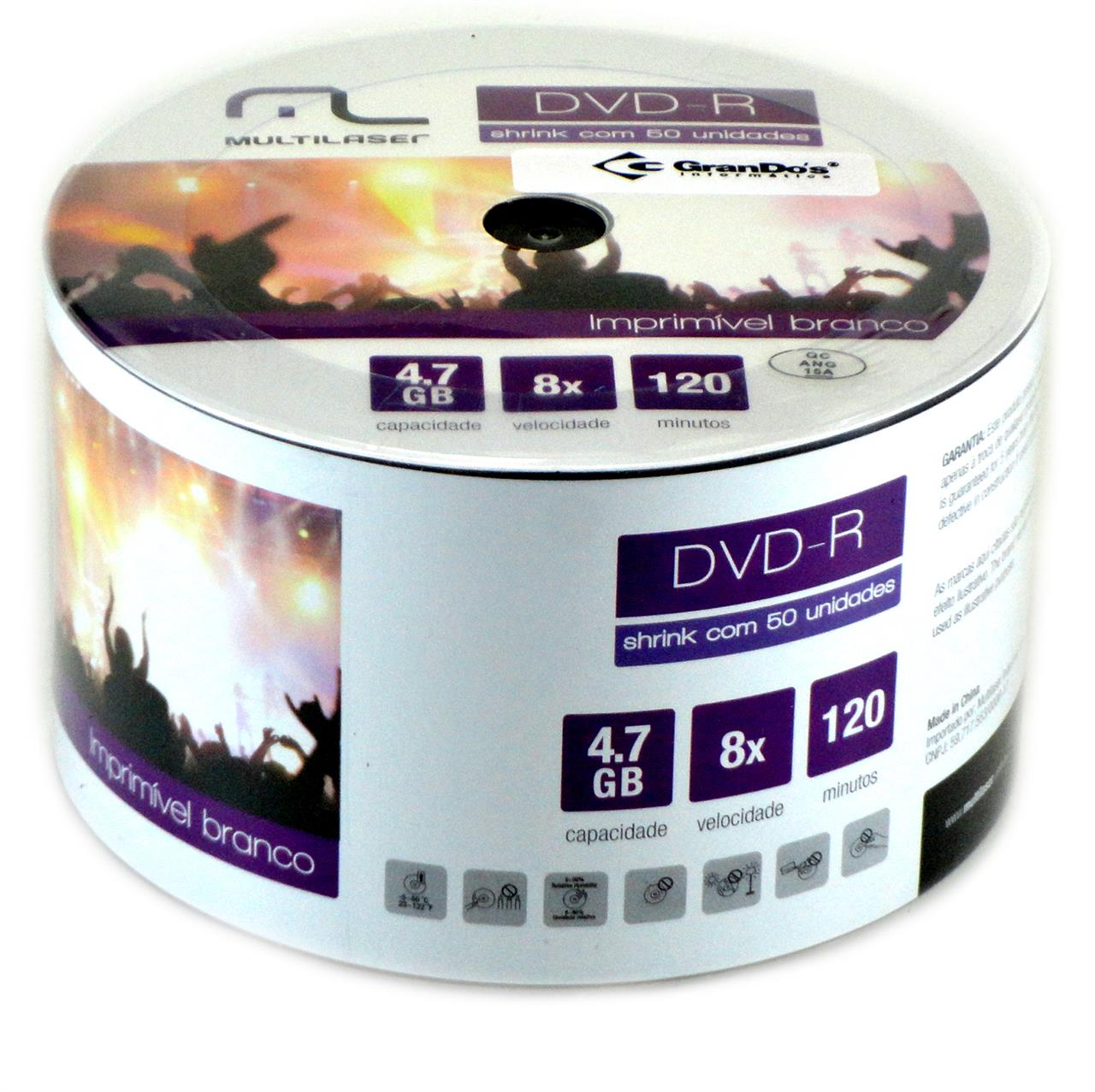 DVD-R Printable 4.7GB com 50 unidades Multilaser
