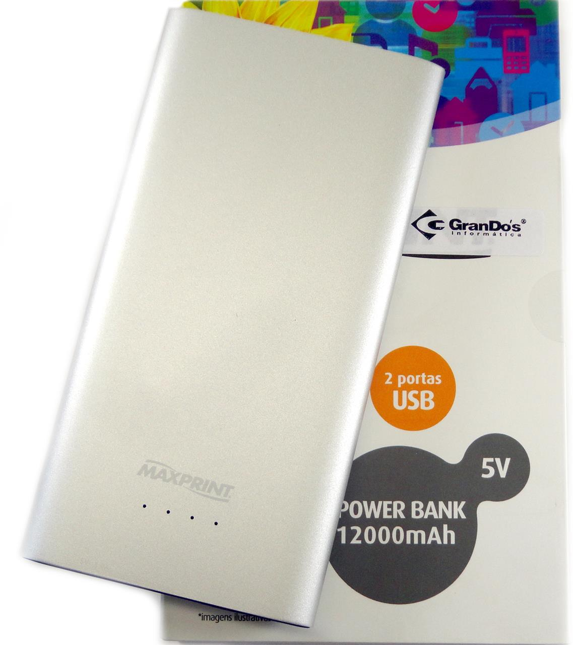 Power Bank Dual Alumi 12000mah Maxprint