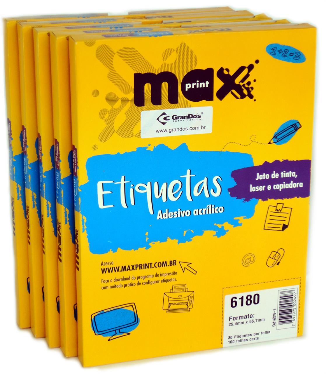 Etiquetas 6180 25,4mm x 66,7mm no Pack com 5 Caixas