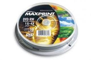 DVD+RW 4.7GB Regravável pino com 10 Maxprint
