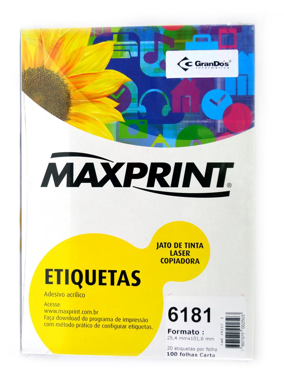Etiquetas 6181 25,4mm x 101,6mm Maxprint