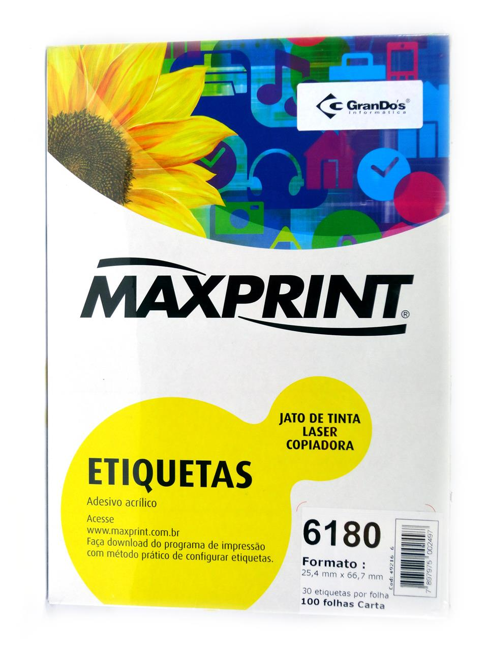Etiquetas 6180 25,4mm x 66,7mm Maxprint